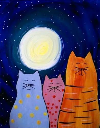 A Happy Kitties paint nite project by Yaymaker