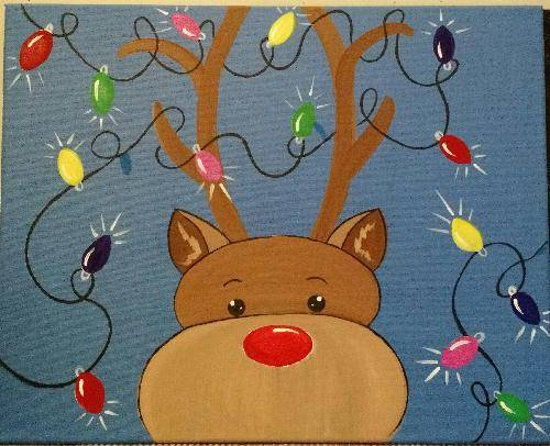 A Reindeer Lights paint nite project by Yaymaker