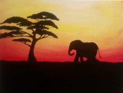 A Elephant Safari paint nite project by Yaymaker