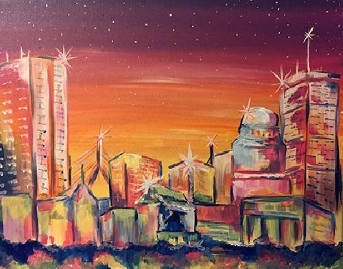 A Sparkling Skyline paint nite project by Yaymaker