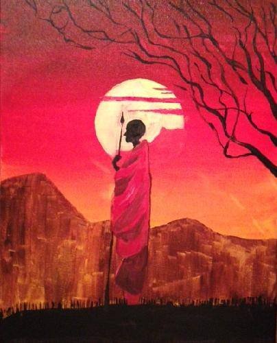 A African Masai Warrior paint nite project by Yaymaker