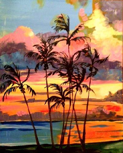 A Island Palms paint nite project by Yaymaker