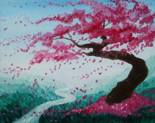 A Technicolor Cherry Blossoms paint nite project by Yaymaker