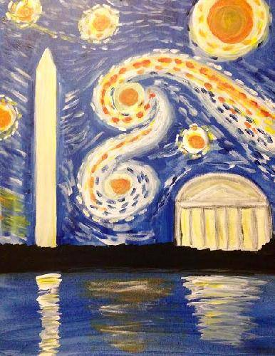 A DC Starry Night paint nite project by Yaymaker