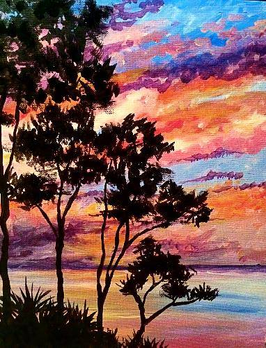 A Sunset Palmettos paint nite project by Yaymaker