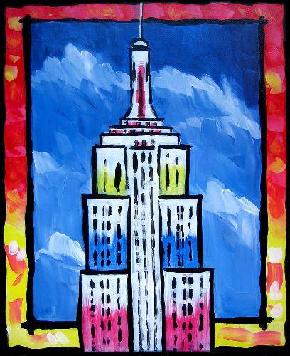A New York Post Card paint nite project by Yaymaker