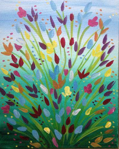 A Bursting Flowers paint nite project by Yaymaker