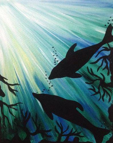 A Dolphin Play paint nite project by Yaymaker
