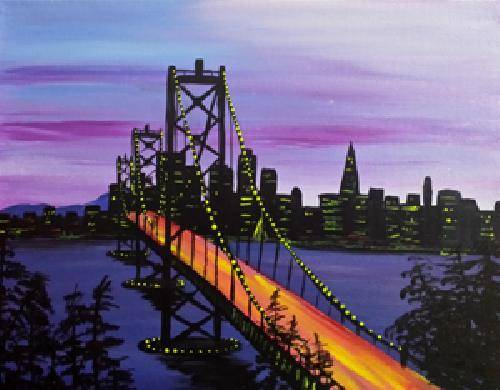 A Bay Bridge At Dawn paint nite project by Yaymaker