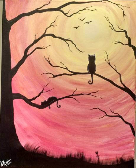A Cat Sunrise paint nite project by Yaymaker