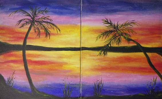 A Paradise Together partner painting paint nite project by Yaymaker