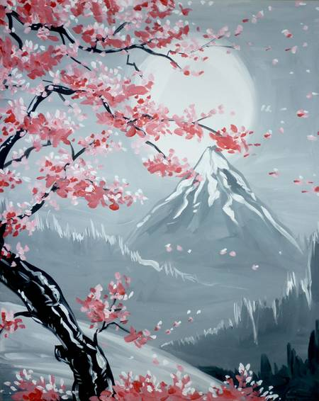 A Simi Cherry Blossoms paint nite project by Yaymaker