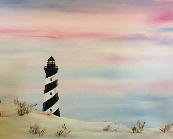 A Lighthouse at Dawn paint nite project by Yaymaker