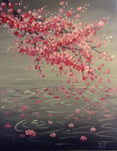 A Cherry Blossom Reflection paint nite project by Yaymaker