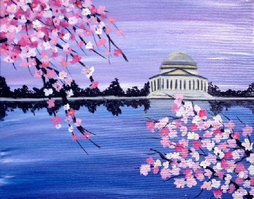 A DC Cherry Blossoms paint nite project by Yaymaker