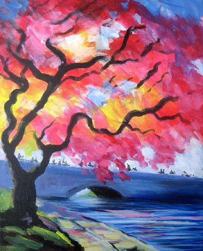A Central Park Tree paint nite project by Yaymaker