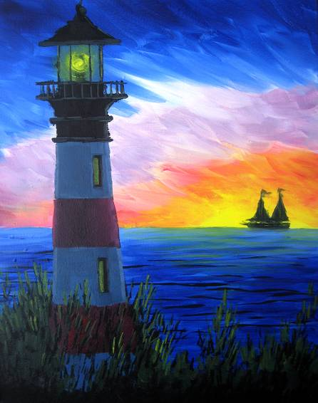 A Rainbow Light House paint nite project by Yaymaker