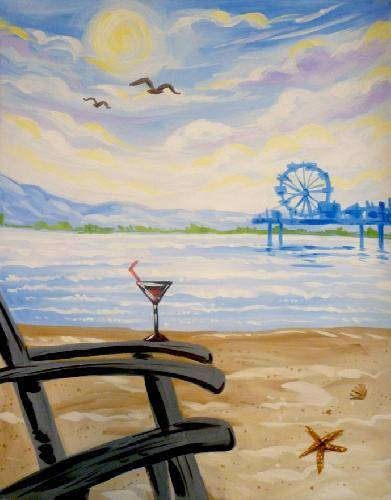 A Beach Life paint nite project by Yaymaker