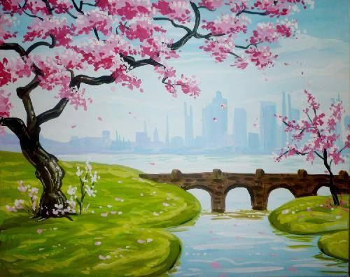 A Blossoms and a Bridge paint nite project by Yaymaker