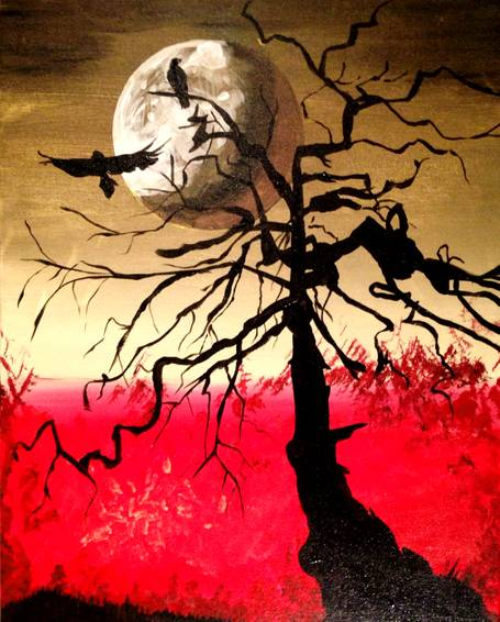 A The Ravens and the Moon paint nite project by Yaymaker