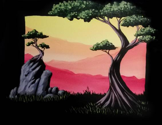 A Zen Trees paint nite project by Yaymaker