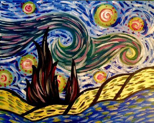 A Funky Starry Night paint nite project by Yaymaker