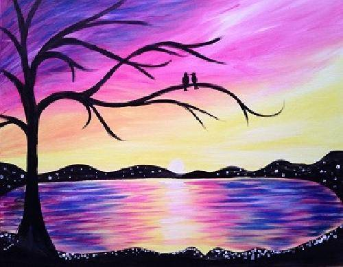 A Sunset Lovers paint nite project by Yaymaker