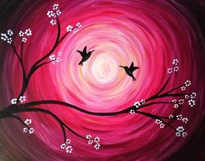 A Hummingbirds paint nite project by Yaymaker