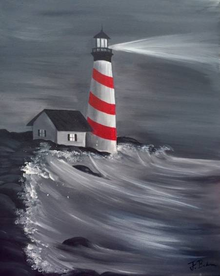 A Lighthouse at Nighttime paint nite project by Yaymaker