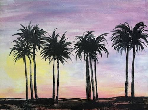 A Miami Palm Sunset paint nite project by Yaymaker
