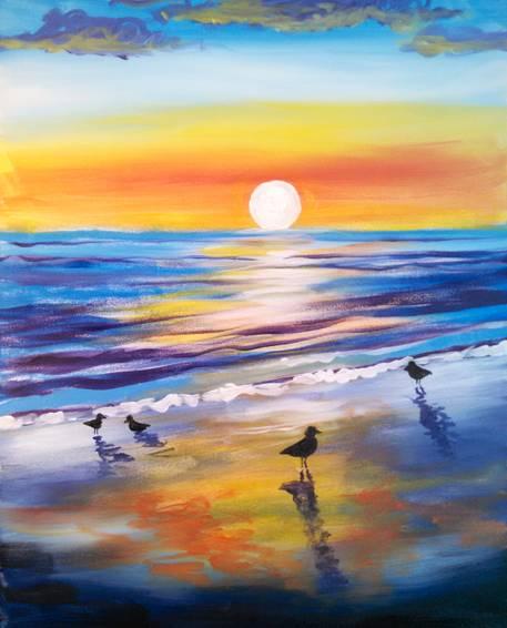 A Sunrise Birds paint nite project by Yaymaker