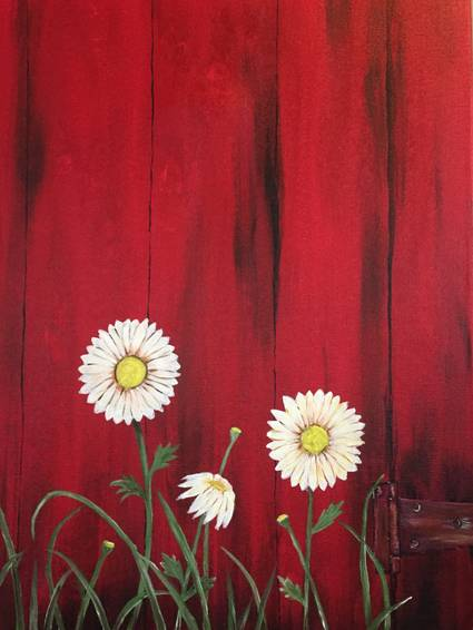 A Red Barn Daisies paint nite project by Yaymaker