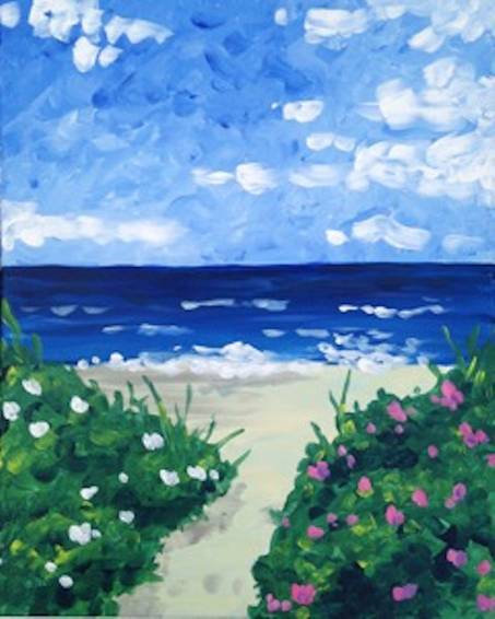 A Beach Blooms paint nite project by Yaymaker