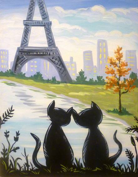 A Lovers in Paris paint nite project by Yaymaker