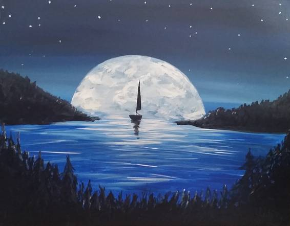 A Sailing into the Supermoon paint nite project by Yaymaker