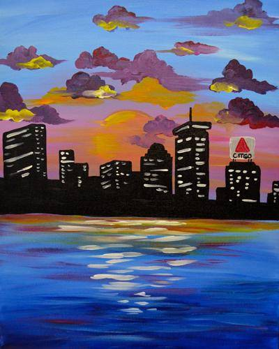 A Summer Sunset Boston paint nite project by Yaymaker