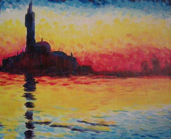 A Monets San Giorgio Maggiore at Dusk paint nite project by Yaymaker
