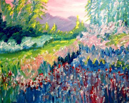 A Impressionist Spring Gardens paint nite project by Yaymaker