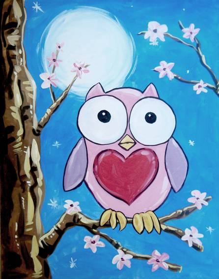 A Owl You Need is Love paint nite project by Yaymaker