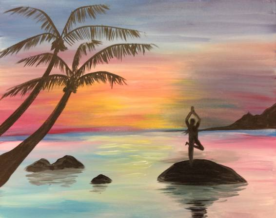 A Yoga Sunset paint nite project by Yaymaker