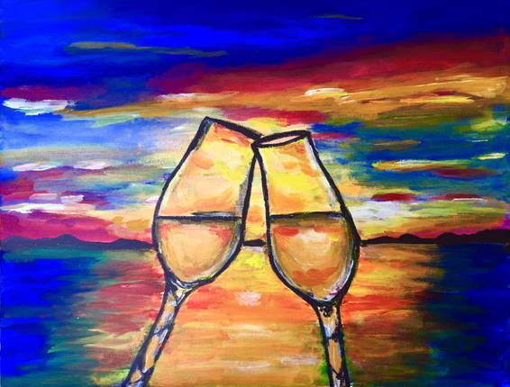 A Celebration at Sunset paint nite project by Yaymaker