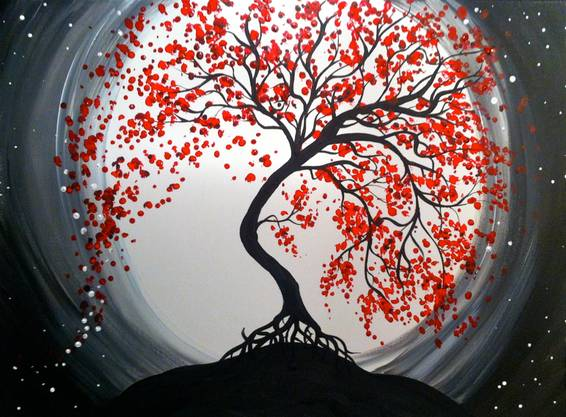 A Moonlit Tree of Life 2 paint nite project by Yaymaker