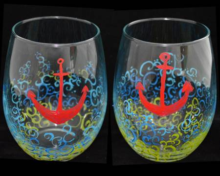 A Anchors Away Stemless Glasses paint nite project by Yaymaker
