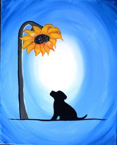 A Sunflower Meets Puppy paint nite project by Yaymaker