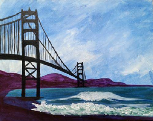 A Golden Gate Waves paint nite project by Yaymaker