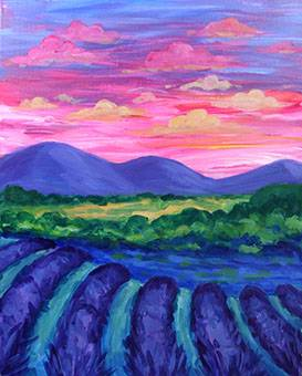 A Sunset Over Lavender Field paint nite project by Yaymaker