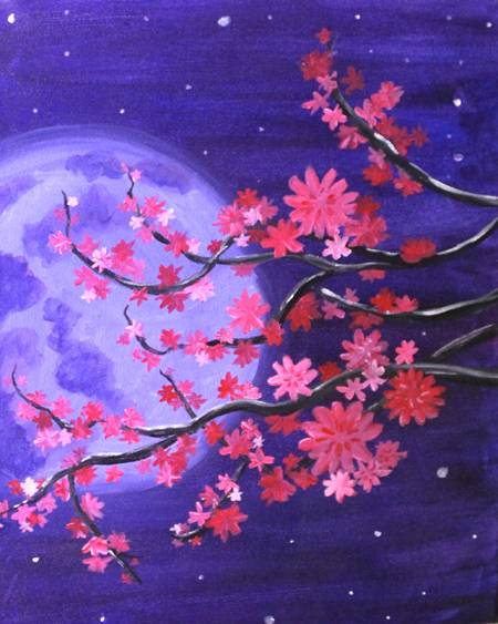 A Cherry Blossom Moonlight paint nite project by Yaymaker
