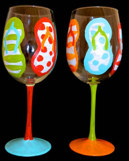 A Flip Flop Wine Glasses paint nite project by Yaymaker