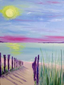 A Sunset Path paint nite project by Yaymaker