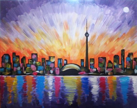 A Vibrant Toronto Skyline paint nite project by Yaymaker